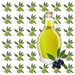 Olive seamless pattern. Olive branches, berry and oil tile-able ornament. OpenClipArt.org elements.