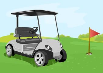 golf cart and flag on a golf course