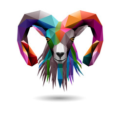 Goat's head, low poly, eps10 vector