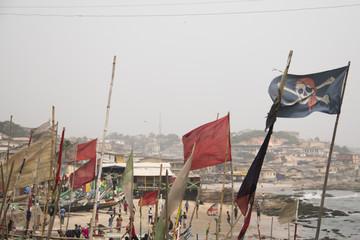 Deurstickers Turkije Pirate flag in Cape Coast in Ghana.