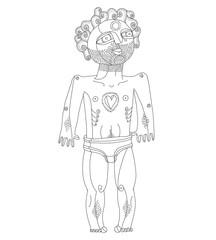 Vector monochrome illustration of nude man, Adam concept.