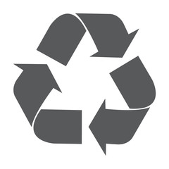 Recycle vector icon. Style is flat symbol, gray color, white background.