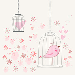 Poster Birds in cages Freedom concept of love in a cage. Bird singing about love in a locked cage. Romantic floral background. Vector illustration