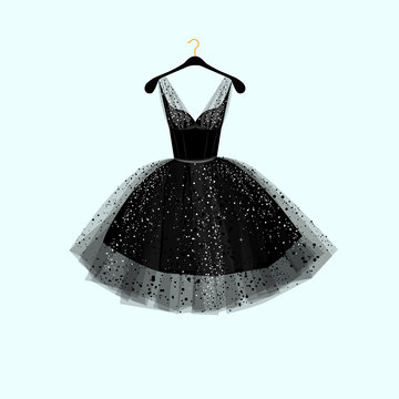 Little black dress. Party dress. Vector illustration