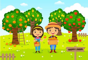 Farmers working in a farm, gardener, garden fruit, cartoon characters vector..