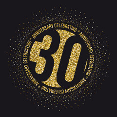 Thirty years anniversary celebration golden logotype. 30th anniversary gold logo.