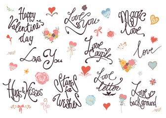 Valentine Day, Love and Wedding lettering collection. Vector Illustration