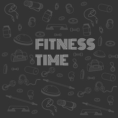 Fitness time, linear icons
