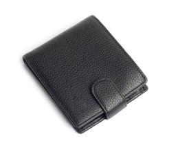 men's black wallet money in cash isolated on white background