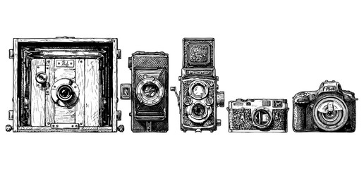 photo cameras evolution set. Wall mural