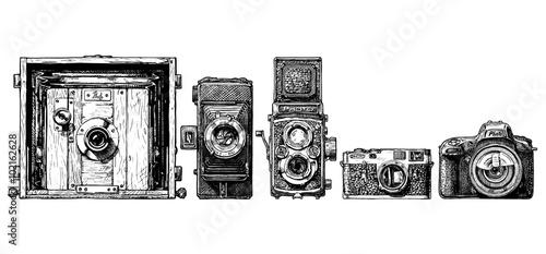 Wall mural photo cameras evolution set.
