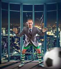 Businessman-goalkeeper