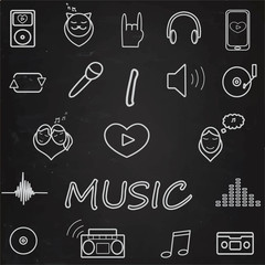 Music icons set. chalk on blackboard. I love music. Illustration. Vector