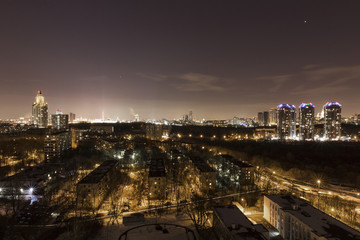 Moscow Victory Park at night with Moscow State University