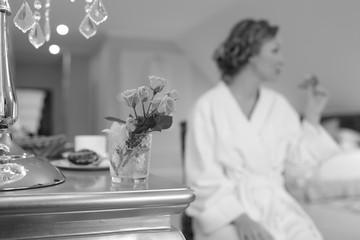 Printed kitchen splashbacks Bonsai Beautiful bride getting ready at hotel room. Bridal happy moments.