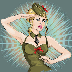 Pin-Up Sexy girl in military uniform saluting 23 February