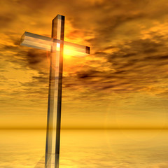 Conceptual glass cross or religion symbol on water over a sunset sky