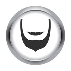 Beard wih mustaches icon on colorful round background