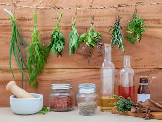 Assorted hanging herbs ,parsley ,oregano,sage,rosemary,sweet bas