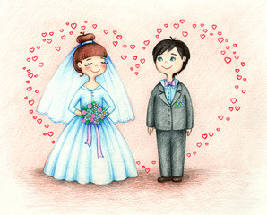 hand drawn picture of  bride and groom by the color pencils