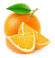 Isolated orange fruit and slices