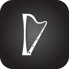 Irish harp symbol icon on colorful background