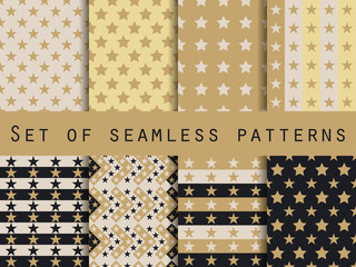 Stars. Set seamless patterns. Gold and black. The pattern for wallpaper, bed linen, tiles, fabrics, backgrounds. Vector illustration.