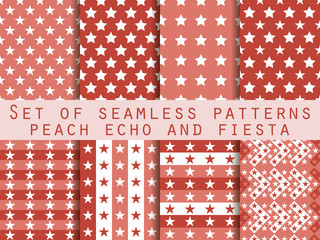 Stars. Set seamless patterns. Peach echo and fiesta color. Color trend in 2016. The pattern for wallpaper, bed linen, tiles, fabrics, backgrounds. Vector illustration.