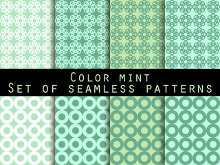 Set seamless patterns. Color mint. The pattern for wallpaper, bed linen, tiles, fabrics, backgrounds. Vector illustration.