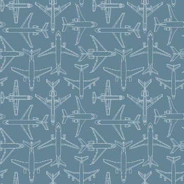 seamless pattern with passenger airplanes number one