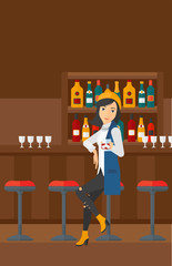 Woman sitting at bar.