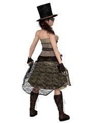 Steampunk Woman with Stovepipe Hat and Two Revolvers, Back View - fantasy illustration