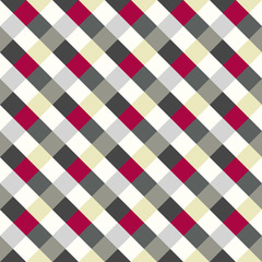 Seamless geometric checked pattern. Diagonal square, woven line background. Rhombus texture. Gray, red, white colors. Vector