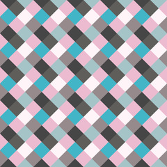 Seamless geometric checked pattern. Diagonal square, woven line background. Rhombus texture. Gray, blue, rose colors. Vector