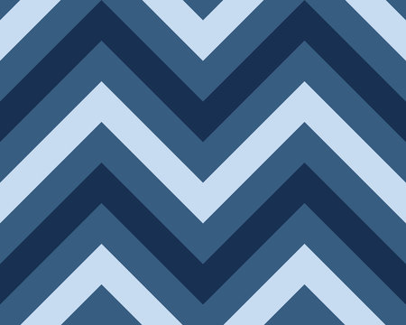 Striped, zigzagging seamless pattern. Zig-zag line texture. Stripy geometric background. Blue contrast colored. Vector