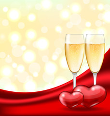 Abstract Background with Wineglasses of Champagne and Couple Hea