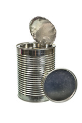 Silver can isolated on a white background