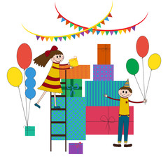 Cute illustration of happy children birtday paty with a lot of gifts and girl and boy on.