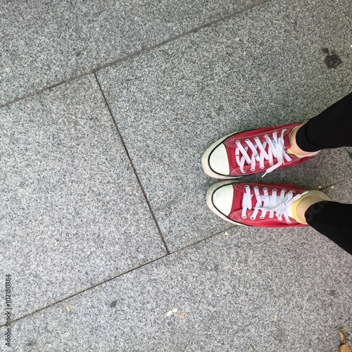 quot sneakers shoes walking on concrete top view
