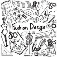 Fashion design education doodle icon tool sign  symbol in white isolated background paper used for designer presentation title with header text, create by vector