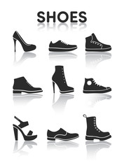 Shoes icons black and white
