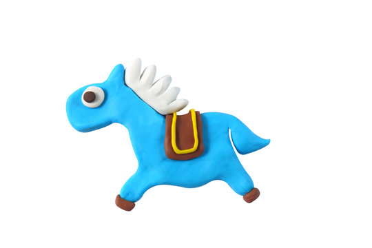 miniature horse model from japanese clay on white background