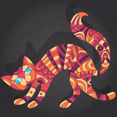 Abstract cat on a dark floral background