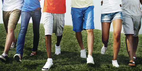 Group Friends Outdoors Diversed Cheerful Fun Concept