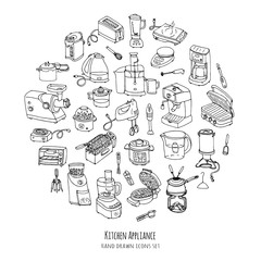 Hand drawn doodle Kitchen appliance vector illustration  Cartoon icons set Various household equipment and facilities Small kitchen appliances Consumer electronics Kitchenware Freehand vector sketch