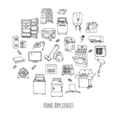Hand drawn doodle Home appliance vector illustration Cartoon icons set Various household equipment and facilities Major and small appliances Consumer electronics Kitchenware Freehand vector sketches
