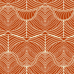 Ethnic seamless pattern with waves. Vector illustration