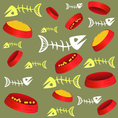 Seamless pattern with fish bones and bowls