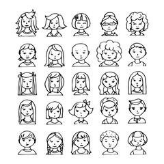 set of hand drawn doodle avatars. vector illustration