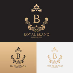 Vector template of logo of boutique brand with crown and floral ornament. Logotype for uses in different spheres. Fashion logo, royalty logo, premium logo.